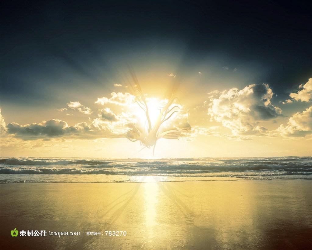 海上漂亮天空霞光素材图片下载